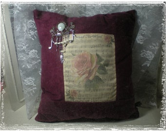 Vintage Look Velveteen Sheet Music Pillow