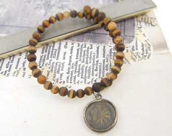 Brown Tibetan Agate Semi Precious Gemstone Bangle Bracelet with Rustic Tribal Wheel Dangle Charm Memory Wire Jewelry