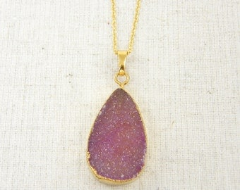Pink Druzy Pendant Necklace Mauve Necklace Sparkly Drusy Pink Stone Necklace Geode Natural Stone Rough Agate Gemstone Pendant Jewelry |NC1-2