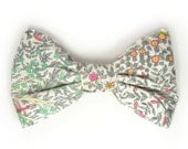 Mens Clip-On Bow Tie pink green grey yellow  flowers bowtie