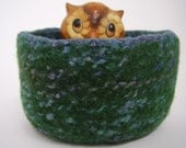 felted wool bowl, felted wool container, desktop storage, eco friendly, office decor green and blue