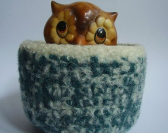 felted wool bowl container desktop organizer candy dish dark teal and cream