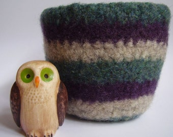 felted wool bowl container organizer striped jade plum and oatmeal eco friendly storage