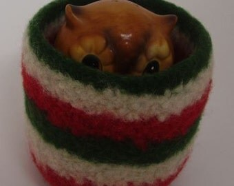felted wool bowl wool container, jewelry holder, eco friendly desktop storage, hostess gift red, green, and cream striped