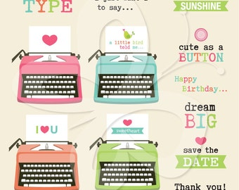 Typewriter Digital Clip Art Set - Personal and Commercial Use