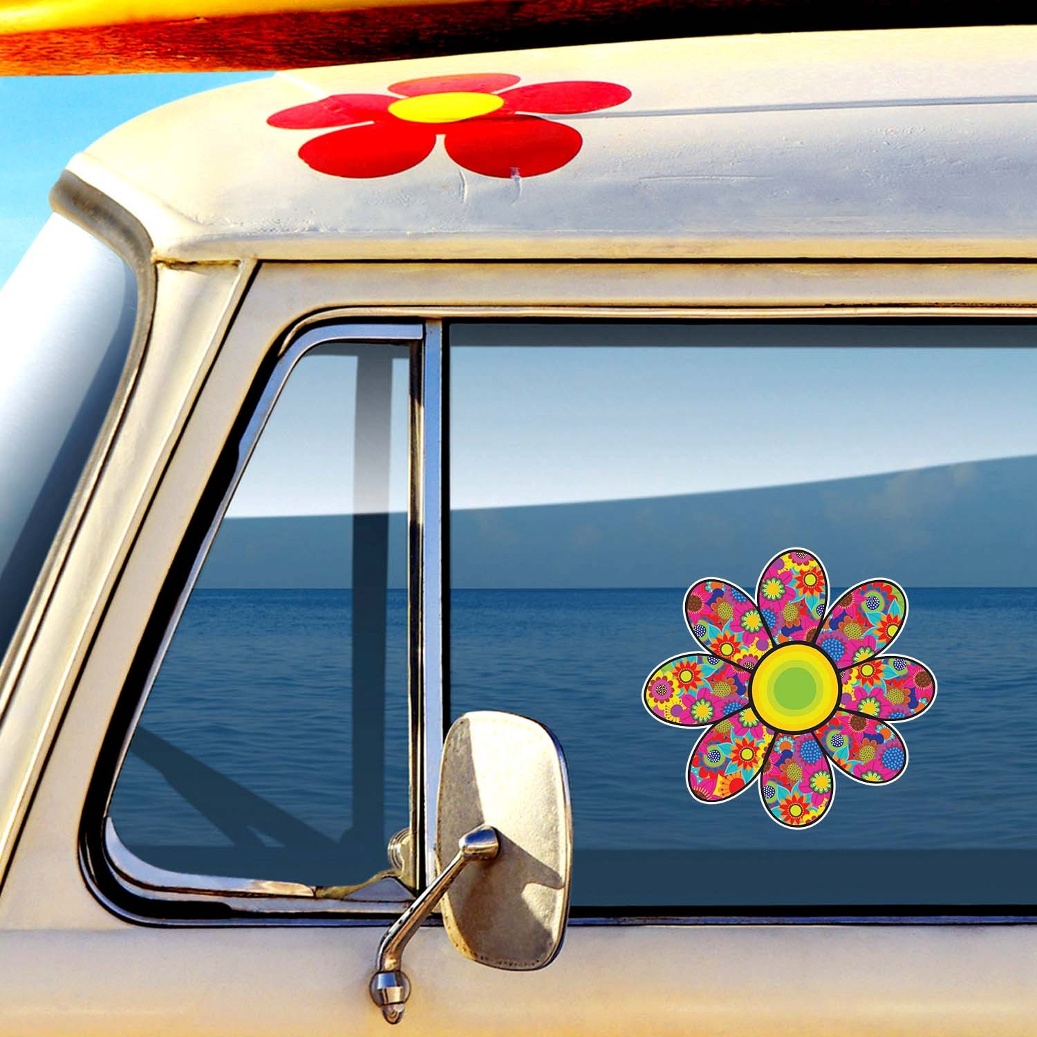 Flower Car Decal Cute Daisy Colorful Floral Bumper Sticker
