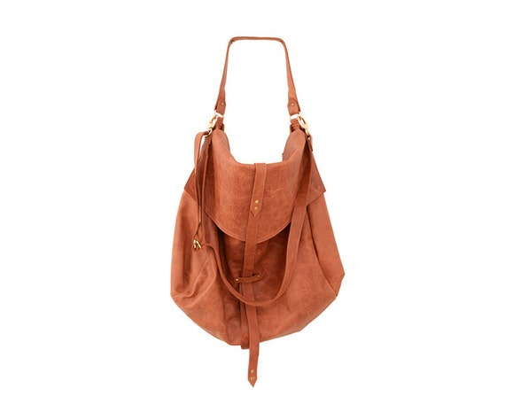 Womens Everyday Handbag in Reddish Brown, Oversized Soft Leather Hobo Bag, Extra Large Handmade Fashion Purse, Neutral Colored Sack Bag