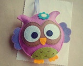 Felt owl ornament, pink owl plushie, personalized gift for baby