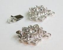 2 Flower Rhinestone box clasps shiny silver floral 23x16mm DB07856