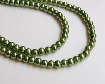 Olive green glass pearl beads round 4mm full strand 9857GL