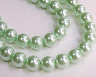 Mint green glass pearl beads round 16mm full strand 7843GB