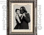 Audrey Hepburn Dancing with Darth Vader on Vintage Upcycled Dictionary Art Print Book Art Print Repurposed Recycled Star Wars