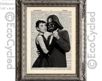 Audrey Hepburn Dancing with Darth Vader on Vintage Upcycled Dictionary Art Print Book Art Print Recycled Star Wars book lover gift