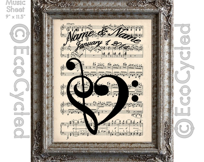 Treble Clef Bass Clef Heart with Names & Date Musical Symbols on Vintage Upcycled Dictionary Art Print Book Music Notes Love Customized