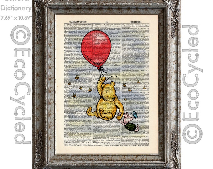 Winnie the Pooh Piglet and the Red Balloon plain on Vintage Upcycled Dictionary Art Print Book Art Print Adventure Classic Pooh Nursery