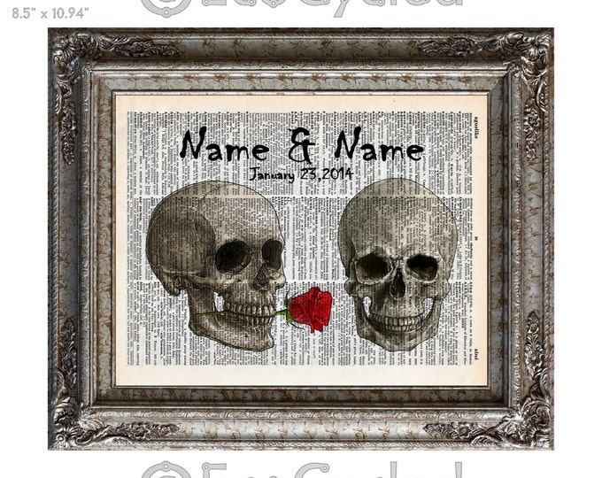 Skulls in Love with Names and Date on Vintage Upcycled Dictionary Art Print Book Art Print Anniversary Wedding Customized human skulls