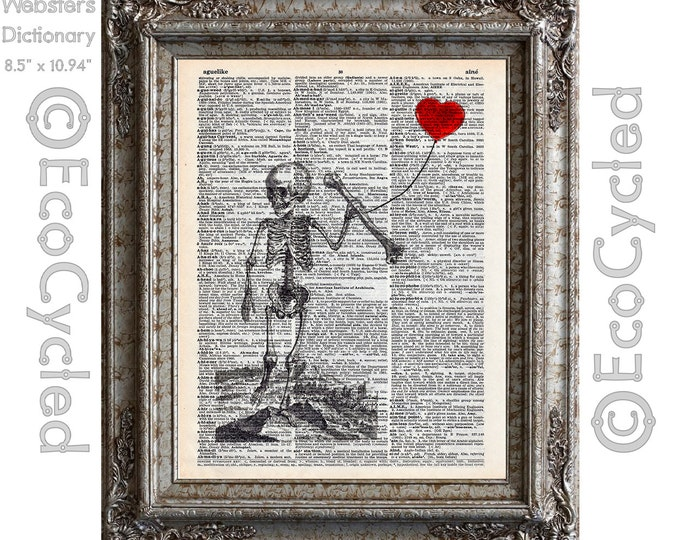 Antique Human Child Skeleton 9 with Heart Balloon Illustration on Vintage Upcycled Dictionary Art Print Book Art Print Recycled