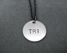 TRI Round Pendant Necklace - Round Triathlon Necklace on Gunmetal chain - Triathlon Jewelry -  Tri - Triathlete Necklace - Swim Bike Run