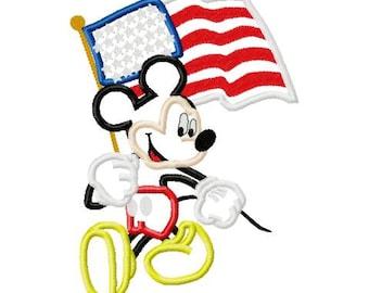 Mouse with USA flag applique design digital instant