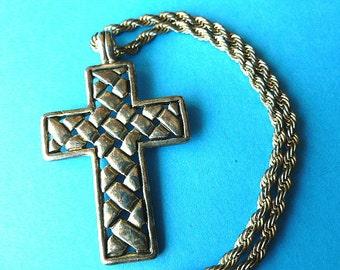 Signed Designer Vintage Silvertone Cross, Basketweave Cross Pendant with Long Rope Style Neck Chain, Vintage Cross Necklace, Silver Cross