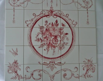 "French Country Floral Handpainted Tile Mural - 30"" x 30"" red and white"