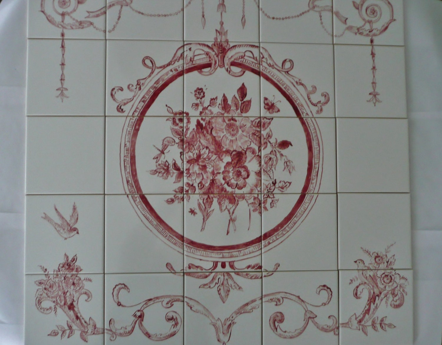 French Country Floral Handpainted Tile Mural 30 X