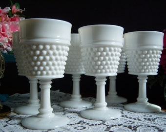 "Six Westmoreland ""American Hobnail"" White Milk Glass Goblets - Wedding Table - Milk Glass Goblets - Vintage Wedding - Wedding Milk Glass"