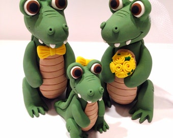 Alligator - Crocodile Family Wedding Cake Topper - Choose Your Colors