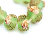 Seaglass look green lampwork beads set, handmade organics - SRA, by MayaHoney