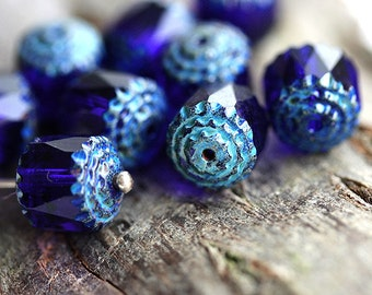 Rustic beads, dark Blue Cathedral rounds, czech glass, picasso ends, fire polished - 10mm - 10Pc - 1950