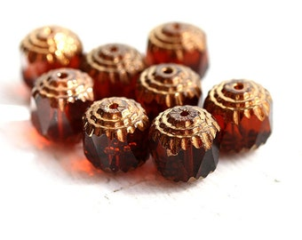 10mm Brown Topaz cathedral czech glass beads, golden ends, large round fire polished ball beads - 10Pc - 0458