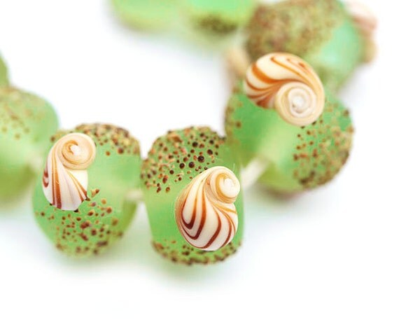 Seaglass look green lampwork beads set, handmade organics - SRA, by MayaHoney