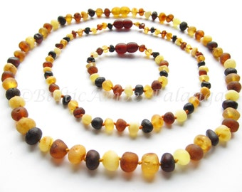 Set Of Raw Unpolished Multicolor Baltic Amber Baby Teething Necklace and Bracelet/Anklet and Mothers Reminding Necklace