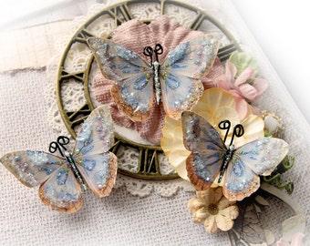 Reneabouquets Butterfly Set-Spun Denim Glitter Glass Butterflies Scrapbook Embellishment, Wedding Decoration, Home Decor