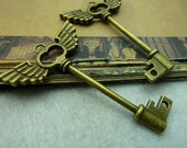 10 pcs 41x60mm antique bronze brass large keys with wings charms pendants fc96945