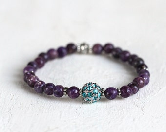 Gemstone and Crystal Pave Bracelet - Purple Lepidolite with Turquoise Pave Stretch Bracelet
