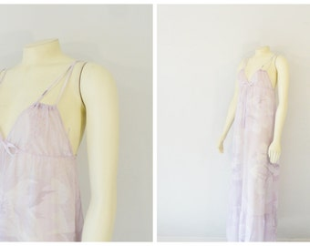 Vintage Nightgown 70s Diane Von Furstenberg Sheer Breathable Full Length Nightgown Lavender Floral size Small to Medium