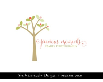 Custom Logo Design Premade Logo for Photographers and Small Businesses Hand Drawn Tree with  Swirly Text Whimsical Shabby Chic