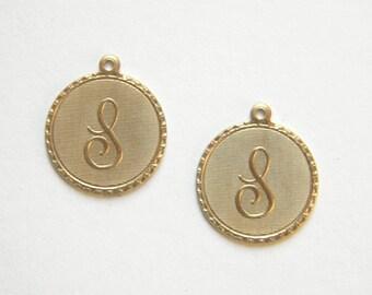 Raw Brass Letter S Charm Monogram Initial Drop 20m x 22mm - 4 pcs.  (r273)