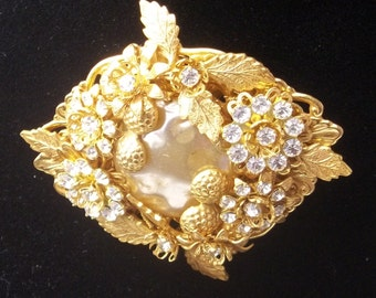 Stanley Hagler N.Y.C. 1980's Avant Garde Baroque Pearl Gold Leaf Rhinestone Gold Plate Vintage Costume Jewelry Brooch Pin Gift For Her