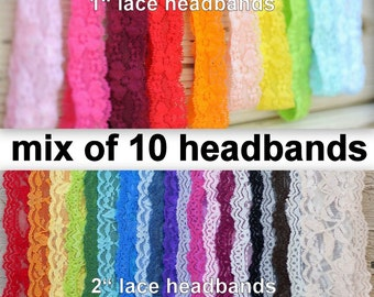 "Lace Headband - Baby Headbands - Stretch Lace -  Set of 10 - Mix 1"" and 2"" Headbands - Elastic Lace Headbands - You Choose Colors - Headband"