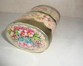 Vintage Lillian Vernon Tin Lavender Rose Pink Flowers, England