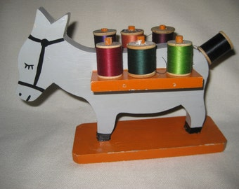 Vintage Folk Donkey Sewing Spool Holder with Antique Spools