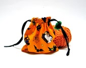 4 Halloween Bags Drawstring Pouch Party Bags Candy Pouch Gift Pumpkin Ghost Witch Spider Bat