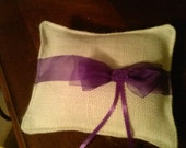 Ivory  Burlap ring pillow with sheer purple ribbon bow