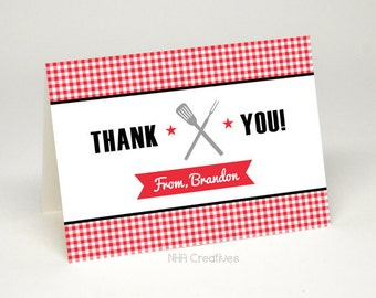 Personalized Barbecue Thank You Card - BBQ Spatula and Fork - DIY Printable Digital File