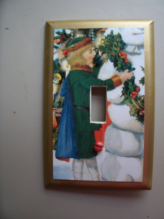 Light switch plate with christmas picture of girl in by