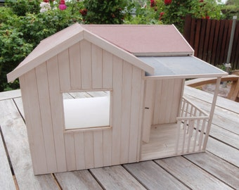 Dollhouse OOAK handmade shabby chic in 1:12 scale with a little porch