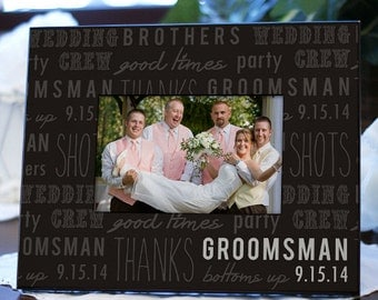 Personalized Groomsman Photo Picture Frame Groomsmen Gift