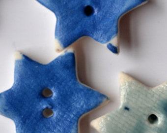 Blue Porcelain Buttons - Ceramic buttons - Handmade - Star Shaped - Set of 7 buttons